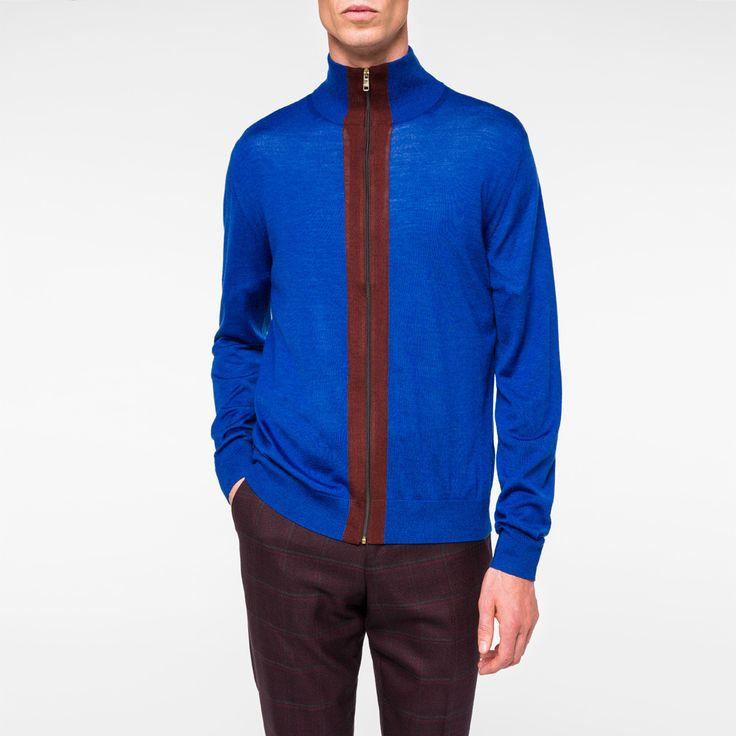 Paul Smith Men's Indigo And Burgundy Merino-Silk Blend Zip-Through Top