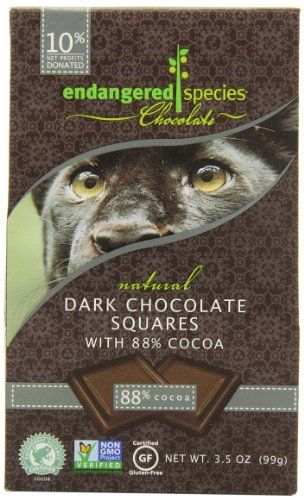 Endangered Species Panther, Extreme Dark Chocolate (88%), 10-Count Individually Wrapped Pieces (Pack of 6) Endangered Species http://www.amazon.com/dp/B002TN02NG/ref=cm_sw_r_pi_dp_s95Wtb0DV4A87D56