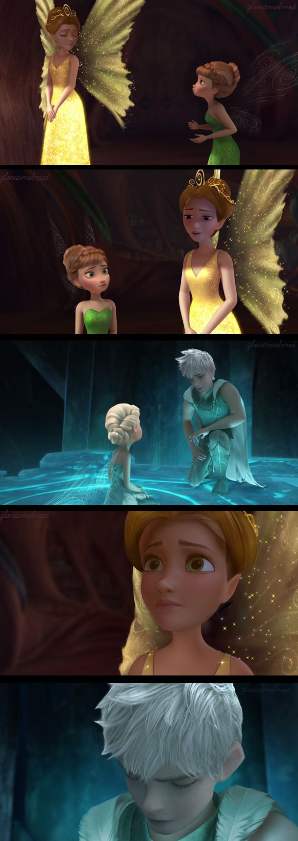 Rapunzel as Queen Clarion, Jack Frost as Lord Milori, Anna as Tinkerbell and Elsa as Periwinkle. I just had a HUGE fangirl moment.