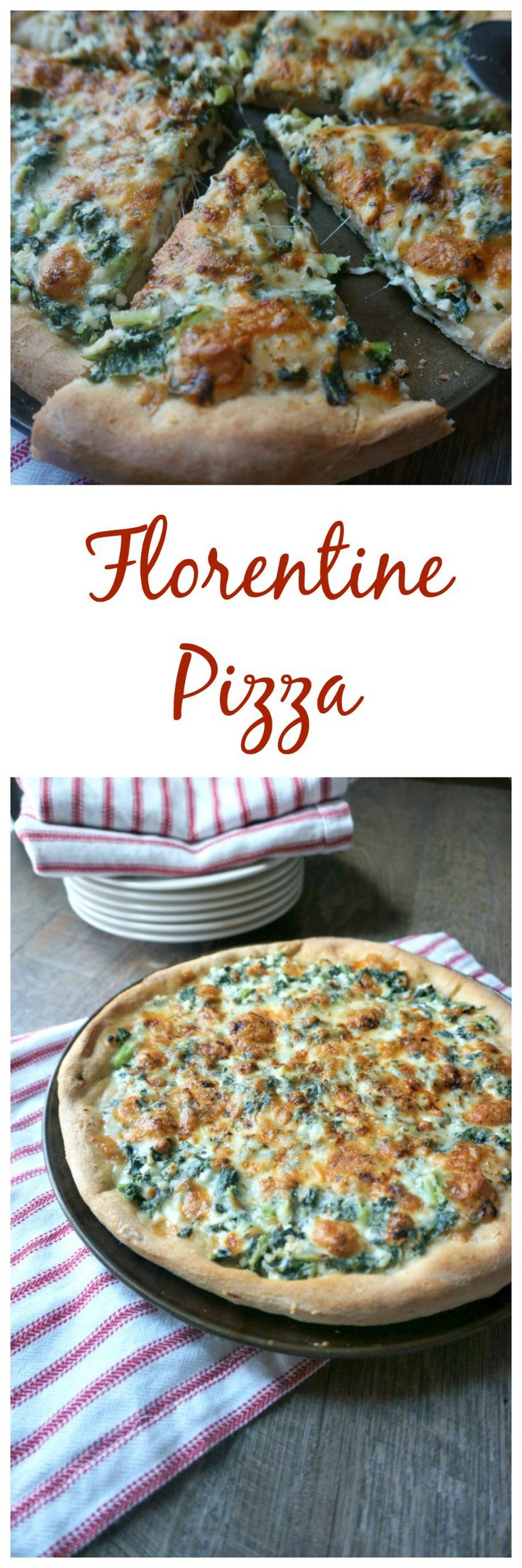 Florentine Pizza: Creamy ricotta, spinach, Italian herbs, and a mixture of mozzarella and parmesan cheeses captures the classic florentine flavor in pizza form. #SundaySupper