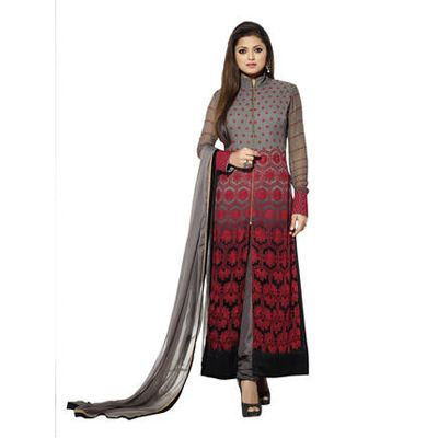 Buy Dignity Fashion Grey Faux Georgette Semi Stitched Suit by Gopi Creation, on Paytm, Price: Rs.1099?utm_medium=pintrest