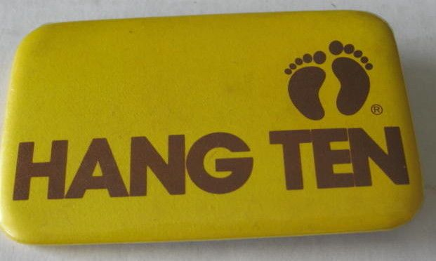 Hang Ten Surfing Wear Promo Button 1960's Vintage Authentic Out of Print RARE
