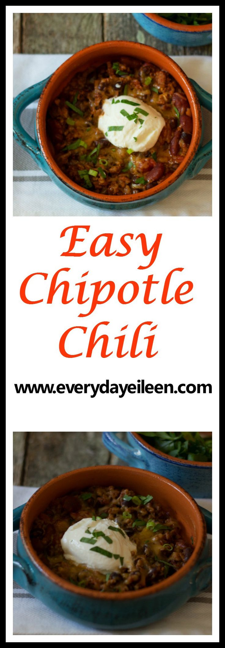 Easy chipotle chili is an easy crowd pleasing meal! Using lean ground sirloin and beans makes for a healthier lighter chili.  Kicked up flavor from chipotle chilis in adobo gives a perfect spice.  Freezer friendly
