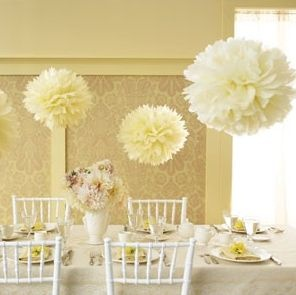 5*30cm Big Pale/Light Yellow Wedding/Party Tissue Paper Pompoms Flowers  De svæver i luften med fiskesnøre