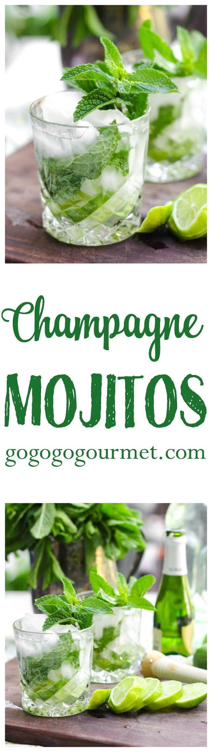 Add an extra kick and hint of fancy to this summertime favorite! Champagne Mojitos | Go Go Go Gourmet @gogogogourmet