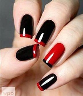 Uñas negro y rojo