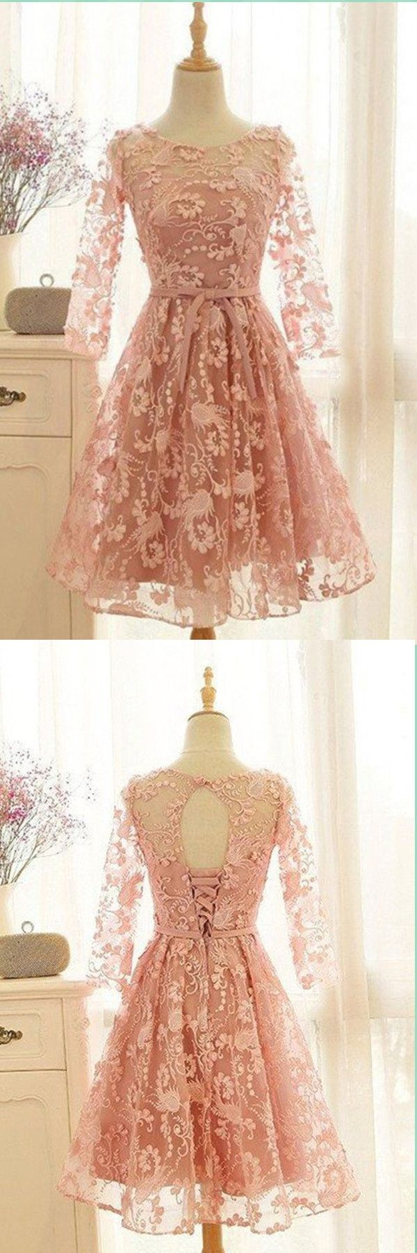 Awesome peach full sleeves prom dress