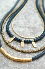 Necklace | Holiday | Black | Long | Gold | Bronze | XO Gallery | XO Gallery