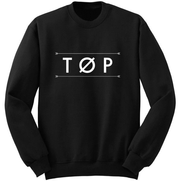 Top Twenty One Pilots Band Shirt Tumblr Crew Neck Sweatshirt Music... ($24) ❤ liked on Polyvore featuring tops, hoodies, sweatshirts, black, women's clothing, black shirt, sweatshirts hoodies, woven shirt, long sweat shirts e long shirts