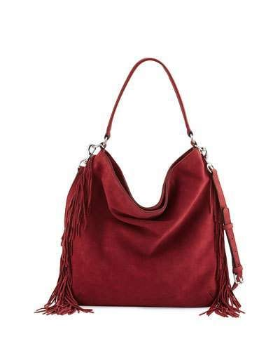 Rebecca Minkoff Clark Fringe Suede & Leather Hobo Bag, Tawny Port