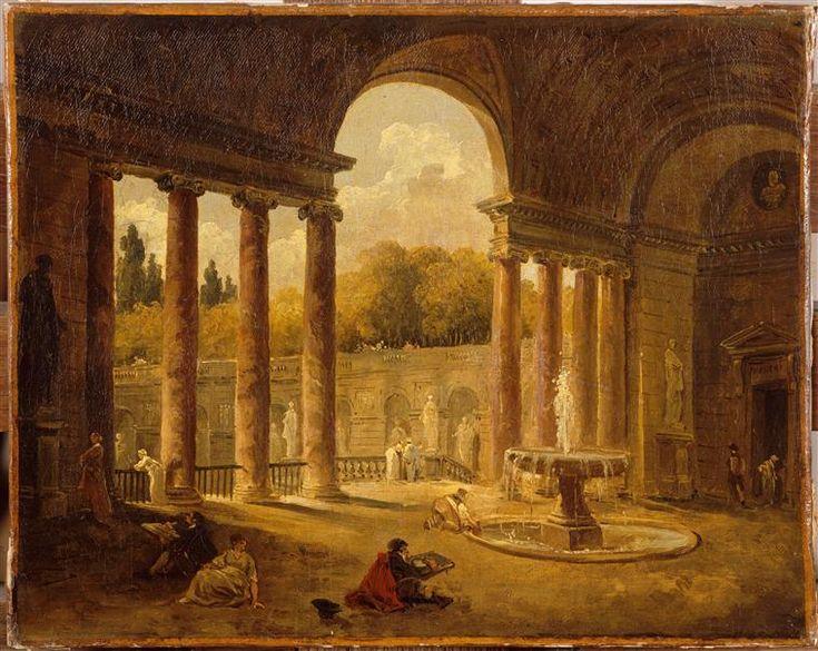 Hubert Robert - Fontaine sous un portique - Louvre