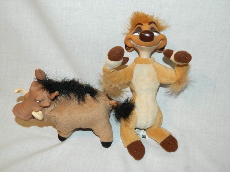 "Disney The Lion King 1994 Mattle Plush Vinyl 7"" PUMBA & 9"" TIMON Toy Dolls VTG #Mattel"