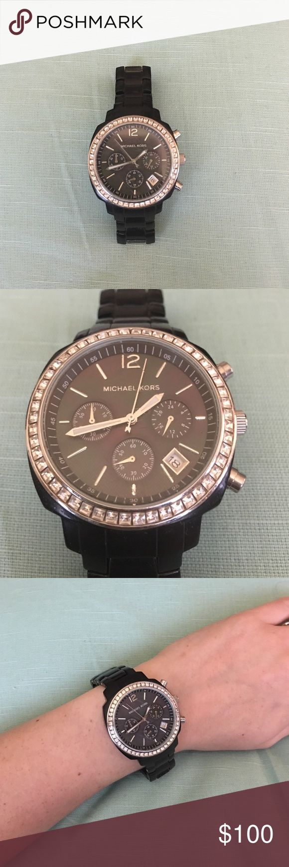 Black Michael Kors Watch Black Michael Kors Watch. Jewels around the actual Watch. Battery works, and it's in good condition. Super stylish. 😍 Michael Kors Accessories Watches
