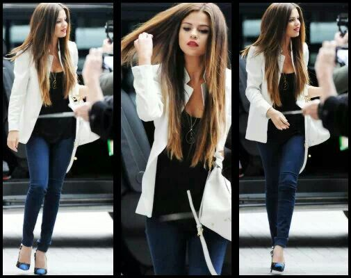 Selena Gomez street style the white blazer is so trendy