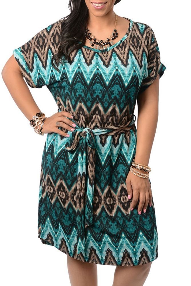 Teal Brown Plus Size Chevron Print Knee Length Dress