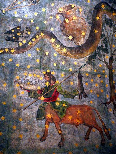 """Centaur and Hydra - fragment of """"The Sky of Salamanca"""", ceiling mural painted by Fernando Gallego in 1473 for the vault of Salamanca University's library. #astrology #fresco #zodiac:"""