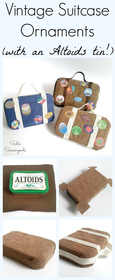 Need a holiday gift for a traveler? Repurpose an Altoids tin into a darling vintage suitcase / luggage Christmas ornament! This DIY tutorial lays out the steps- simple, easy, and just adorable. Celebrate the love of foreign travel on your tree this Christmas with an adorable upcycle craft project. #SadieSeasongoods / www.sadieseasongoods.com