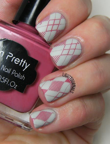 Pink and grey geometric nails with H&M Stucco and Harunouta 10 stamping plate nailart @bornprettystore