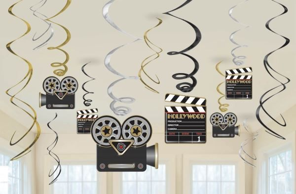 Compra tu Decorados espirales Hollywood cine (12) online barato al mejor precio en Fiestafacil.com