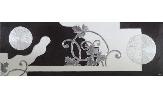 Cuadro Floral Blanco-Negro-Gris [08-013]   www.olyarte.com