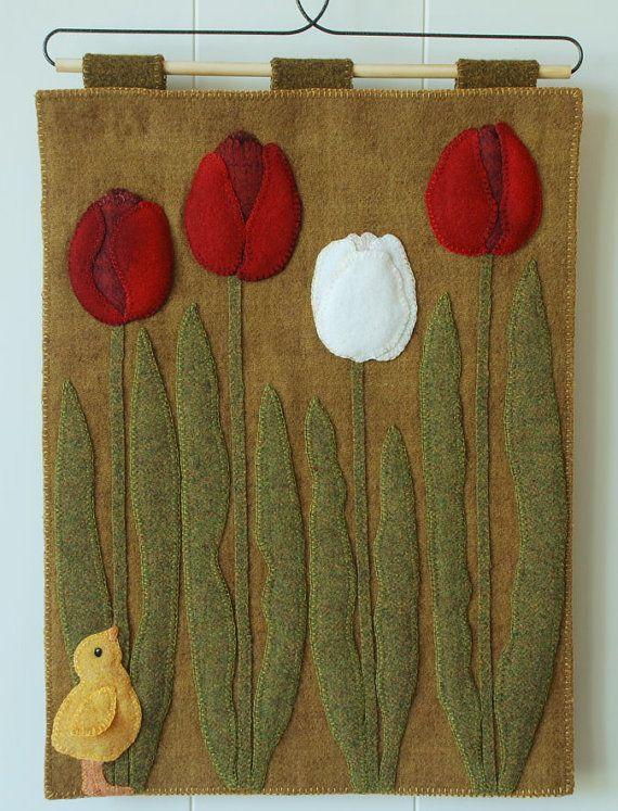 """Apliques de lana modelo """"A Pío en el tulipanes"""" tulipanes de corredor de mesa colgante bebé pollito Pío alfombra a mano teñido enlace bloque de tejido de lana de fieltro"""