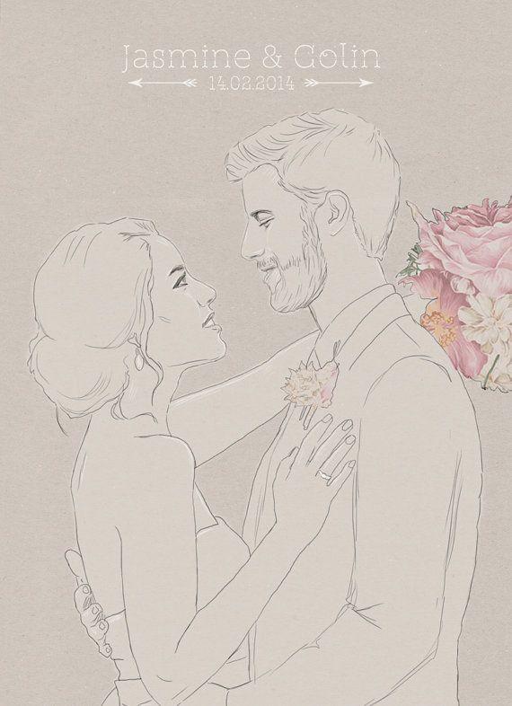 Custom Wedding Portrait by LovePhaedra on Etsy  #custom #wedding #portrait #couple #gift #idea #hipster #cute #drawing #art #illustration #drawing #digital #art