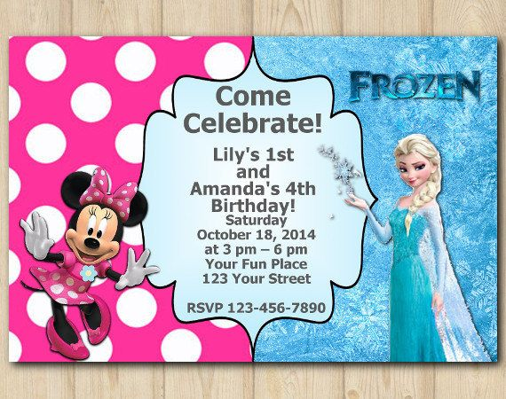 28 best twins birthday images on pinterest twin birthday custom twin frozen and minnie mouse custom invitation printable personalized digital card filmwisefo Choice Image