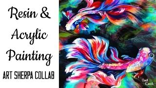 (857) How to paint Beta Fish in acrylic Craft Klatch Collab and Giveaway - YouTube