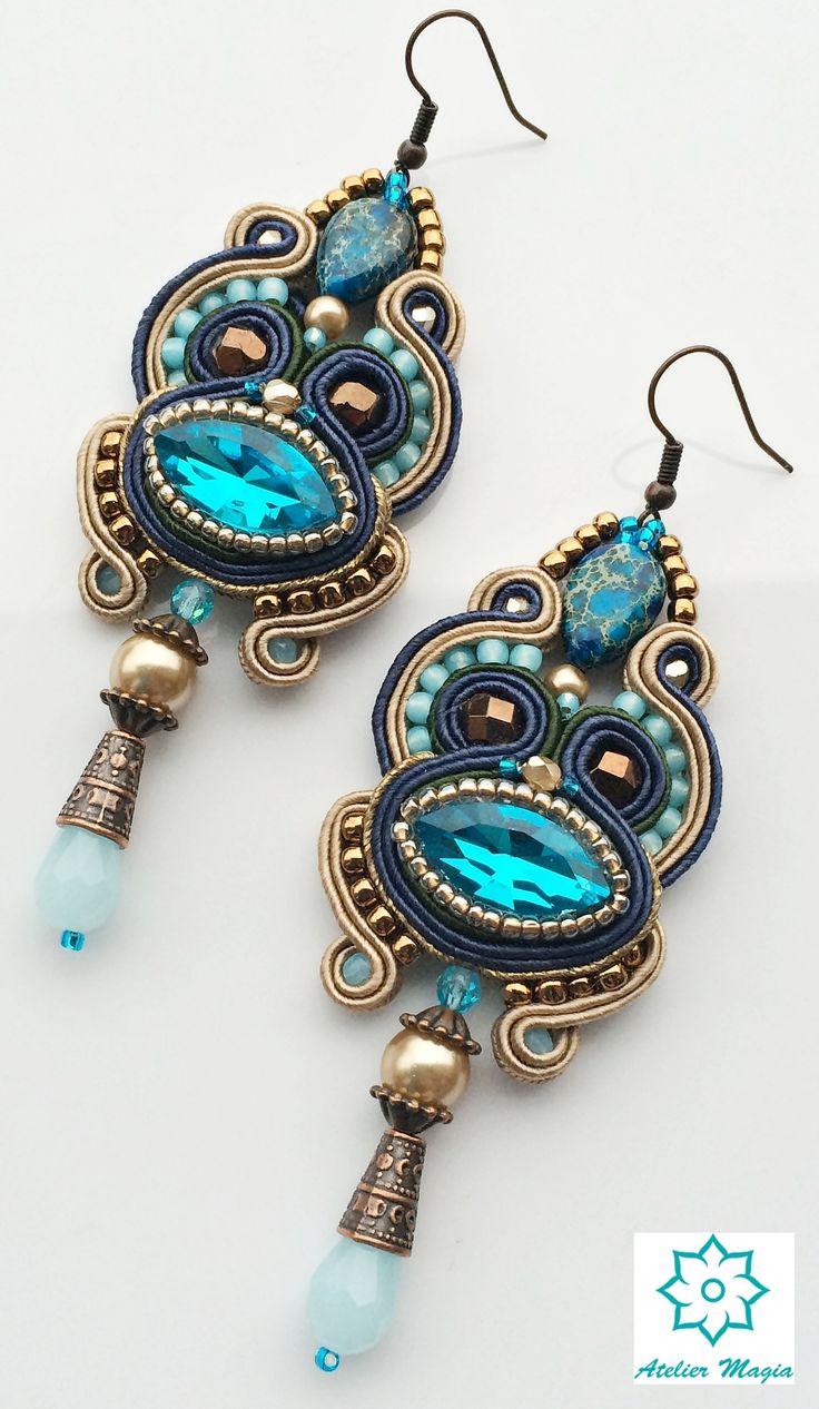 soutache earrings with aquamarine crystals - Atelier Magia by Katarzyna Wysocka