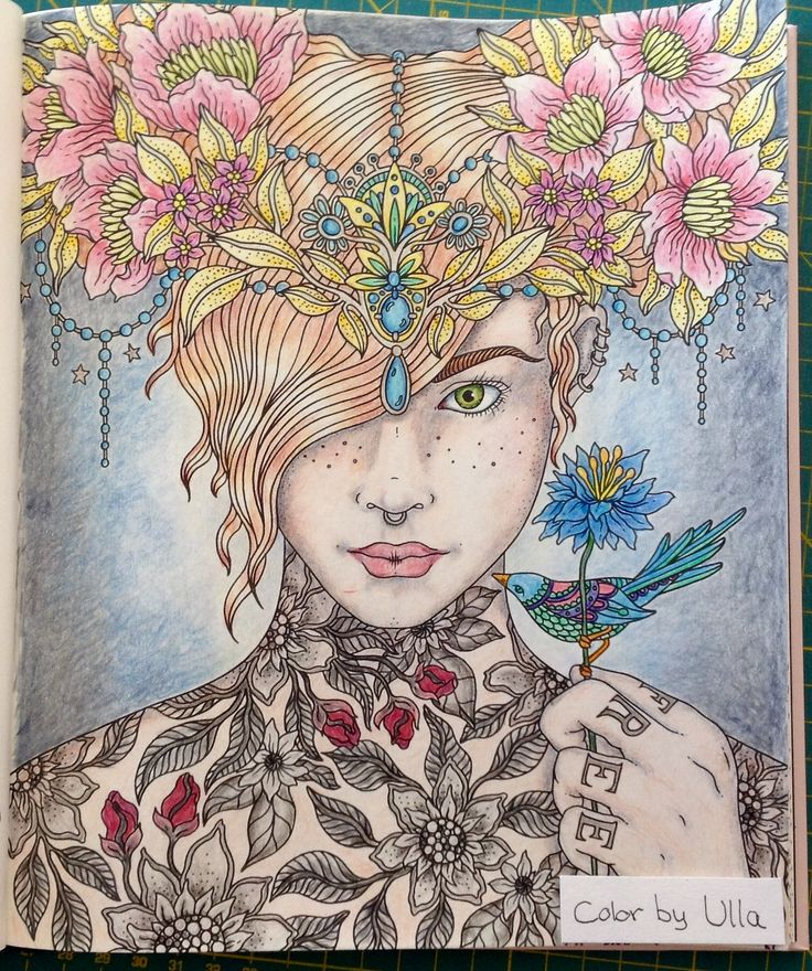 """My version, from the book """"Sommarnatt"""" by Hanna Karlzon, painted with Faber-Castell Polychromos pencils. I followed a tutorial by La Artestina on how to color the face and hair."""