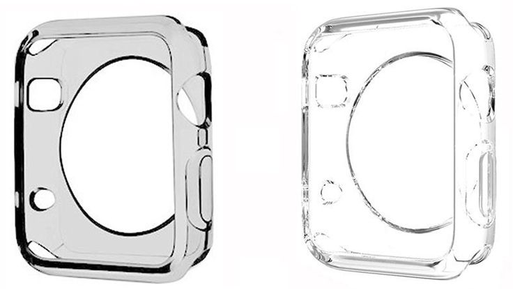 Apple Watch Case [Set of Two Colors], JOTO Apple Watch 42mm Case Slim [Crystal Clear / Perfect Fit / Flexible / Semi-transparent / Lightweight] Full Body Soft Apple Watch Cover Case for 42 mm Apple Watch (Smoke Black and Clear)