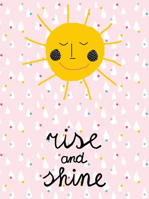 Sierkussen sierkussenhoes : Poster Rise u0026 Shine : Vrolijke u0026 zonnige poster voor op de kinderkamer ...