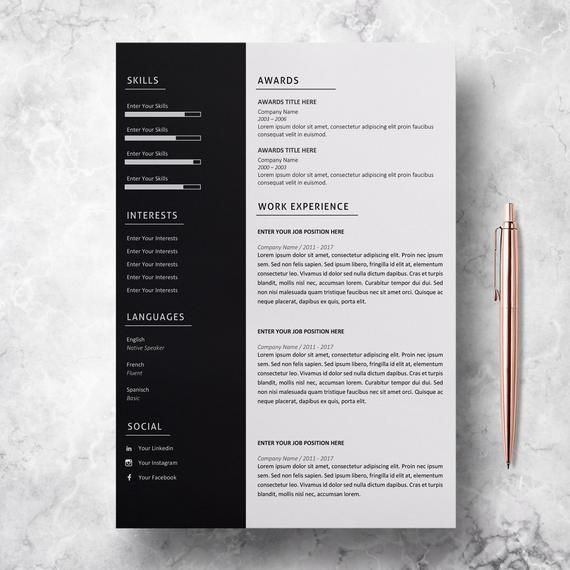 Professional Resume Template Professional Cv Template For Ms Etsy Cover Letter Template Resume Template Free Resume Template Word