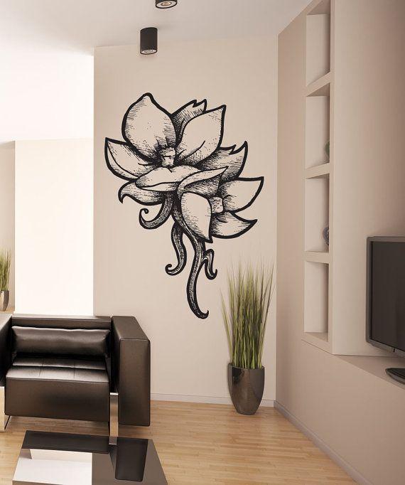 Vinyl mural autocollant sticker bois br ler fleurs for Appliqu mural autocollant