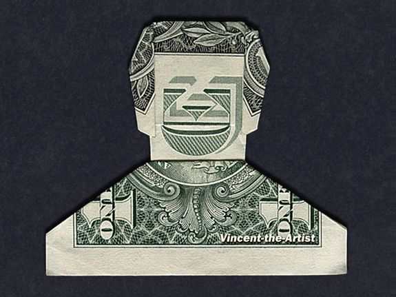 SMILING DUDE Money Origami Dollar Bill Cash Man Father Day Guy Bank Note Handmade Father's