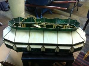 Antique Hanging Pool Table Light    Tiffany Style     $80  Storage Hunter Sales 817-585-1350