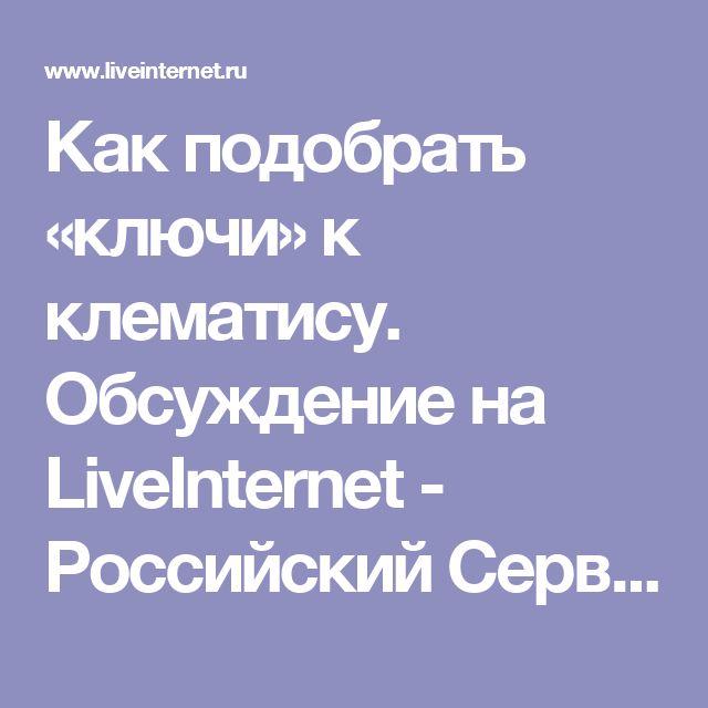 Как подобрать «ключи» к клематису. Обсуждение на LiveInternet - Российский Сервис Онлайн-Дневников