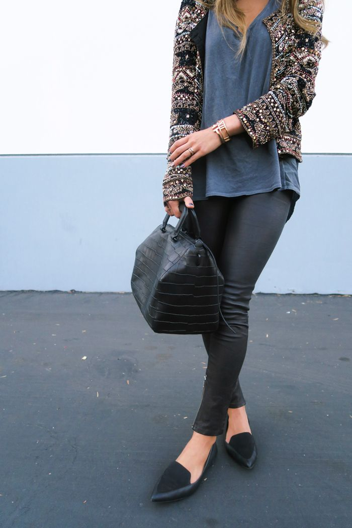 Sequin Jacket, leather pants, and pointy flats!  www.songofstyle.com