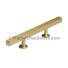 """Lew's Hardware [31-103] Solid Brass Cabinet Pull Handle - Square Bar Series - Standard Size - Brushed Brass Finish - 3"""" & 96mm C/C - 7"""" L"""