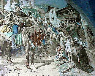 Wilhelm Tell und Landvogt Gessler: Apfelschuss Gemälde in der Tellskapelle bei Sisikon