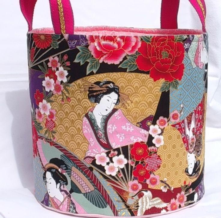 """BAC de rangement, SAC à linge, Panier de rangement en coton """"Femmes japonaises"""" : Chambre d'enfant, de bébé par paquita-14400"""