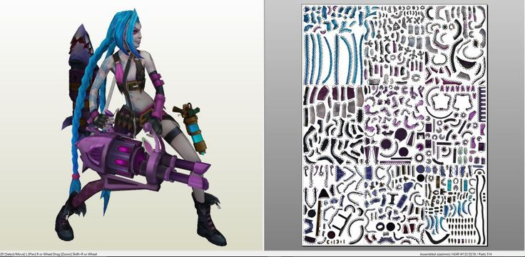 Papercraft .pdo file template for League of Legends - Jinx.