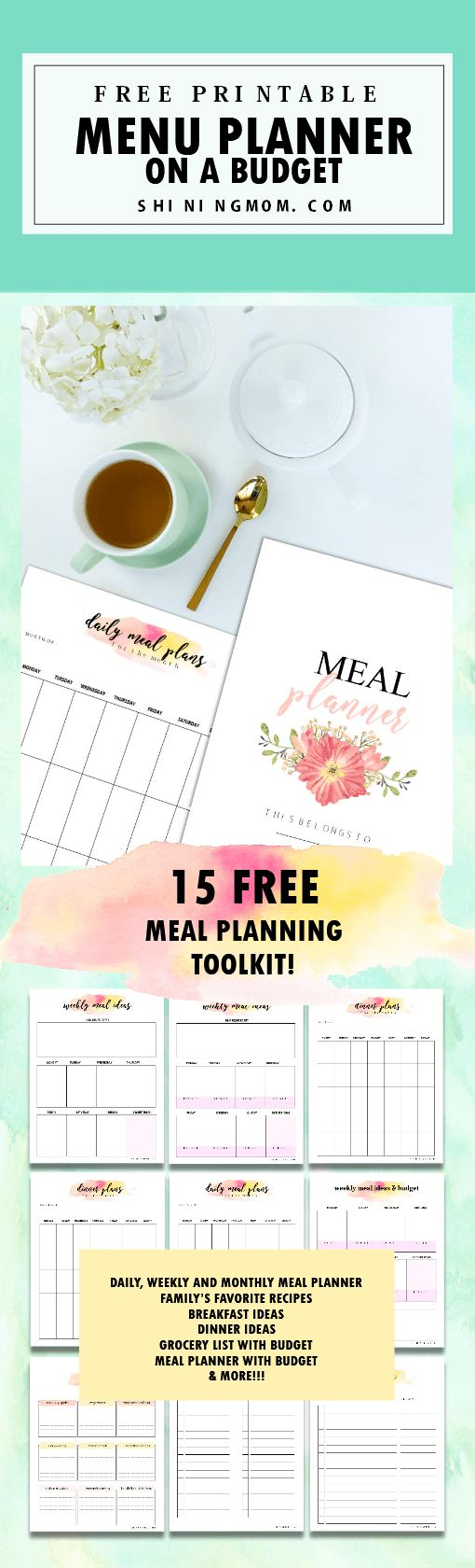 This amazing FREE menu planner printable will help you plan your meals on a budget. Print and use the 15 meal planning printables for free!