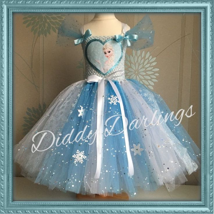 Sparkly Elsa Tutu Dress Sparkly Frozen Tutu Dress Costume Party Princess Play #DiddyDarlings #CasualFormalParty