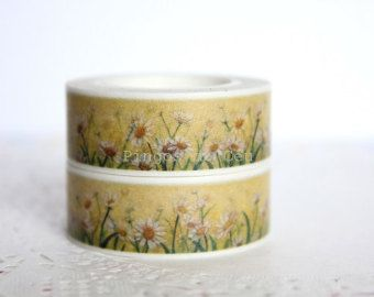Flowers Washi Tape - Scrapbooking - Gift Wrapping - Packaging Supplies - 1 Roll - 10 mt - Ready to Ship