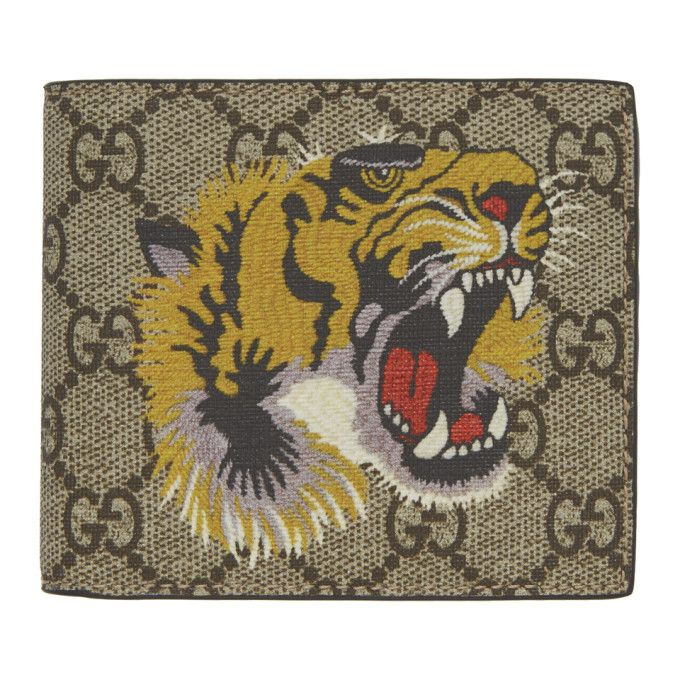 166ab7b81b7 GUCCI Tiger Print Gg Supreme Wallet