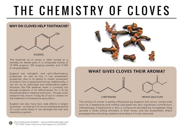 Clove oil is rich in a compound called eugenol, which has antiseptic and anti-inflammatory properties that can ease dental pain.