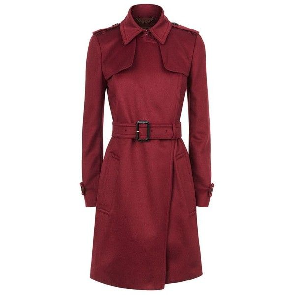 Burberry Tempsford Cashmere Trench Coat (1.070.825 CLP) ❤ liked on Polyvore featuring outerwear, coats, cashmere trench coat, burberry trenchcoat, military coat, red coats and red trench coat