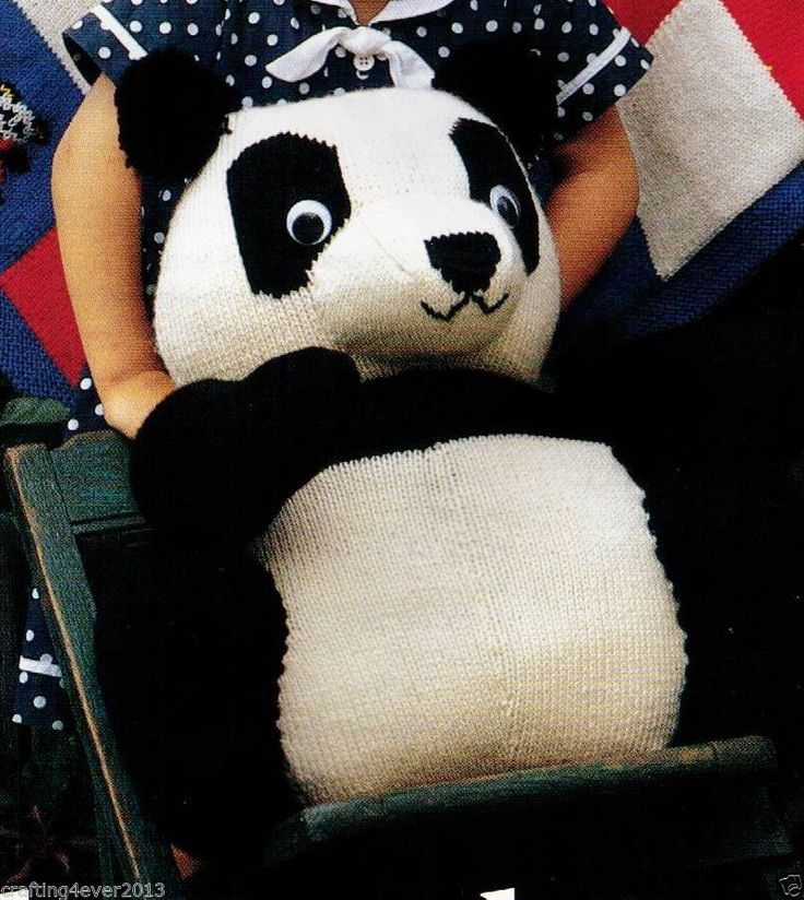 LARGE CUDDLY GIANT PANDA  CUTE ANIMAL TOY - 43 CMS TALL -12PLY KNITTING PATTERN