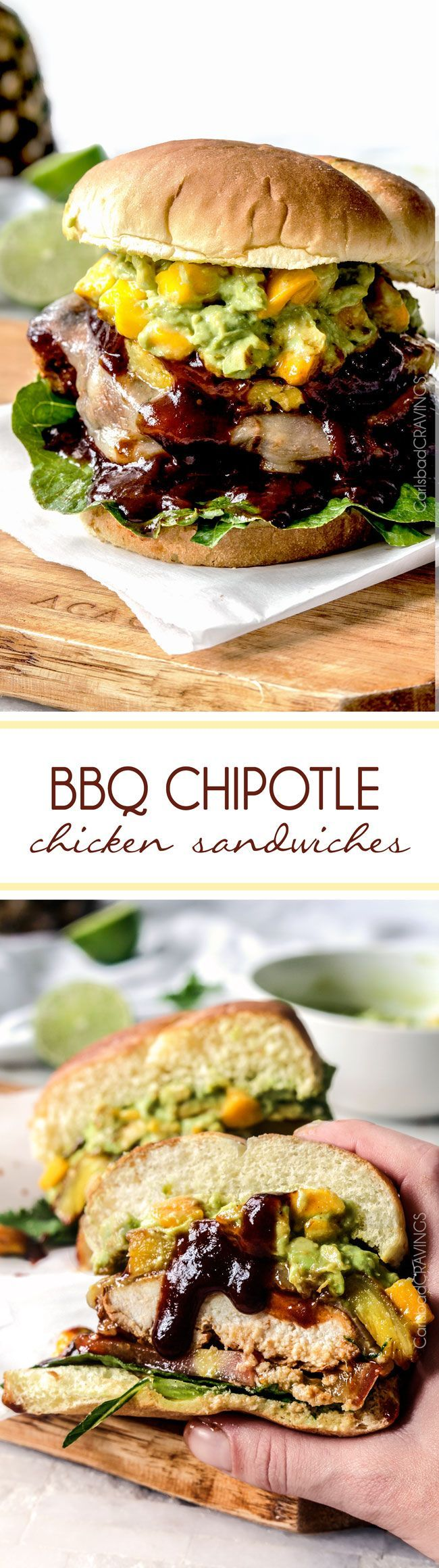 BBQ Chipotle Chicken Sandwiches (with Mango Guacamole) - Bursting with flavor, restaurant quality and so easy!
